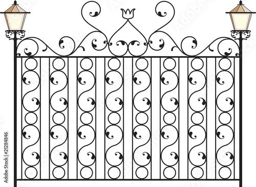 Vector: Wrought Iron Gate, Door, Fence, Window, Grill, Railing design