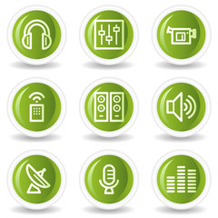 Media web icons, green circle buttons