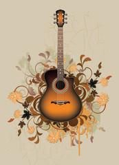 Dirty abstract with orange acoustic guitar