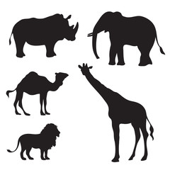 exotic african animals silhouette vector