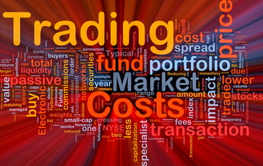 Trading costs background concept glowing