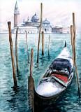 Fototapety Gondola in winter-watercolor.My own artwork.