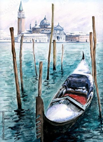 Gondola in winter-watercolor.My own artwork. - 21292807