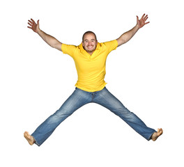 isolated man jumping