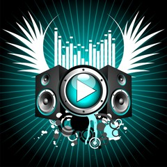 vector illustration for musical theme with speakers and wings