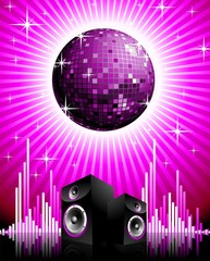 Vector music illustration with speakers and disco ball.
