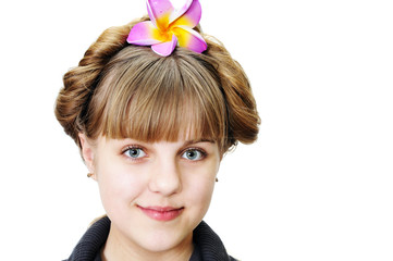 teen girl with funny hairstyle