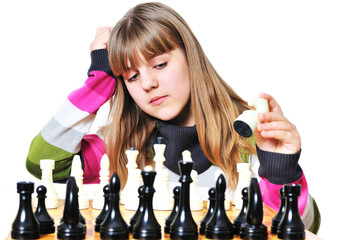 teenage girl and chess