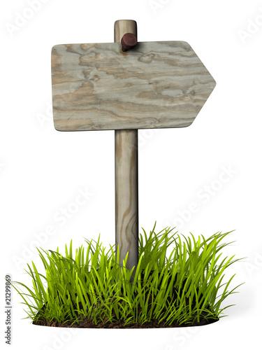 Panneau de direction bois plus herbe by michael nivelet royalty free stock p - Panneau bois imitation lambris ...