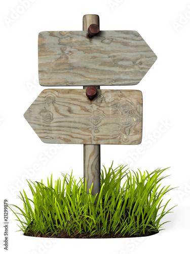 panneau de direction double bois plus herbe photo libre. Black Bedroom Furniture Sets. Home Design Ideas