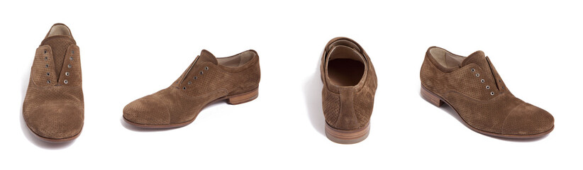 brown suede men shoe