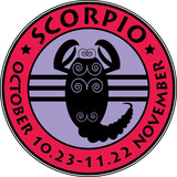 Scorpio zodiac stamp, vector illustration poster