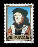 North Korean stamp featuring British monarch Henry VII poster