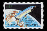 mail stamp printed in Africa featuring an orbiting Space Shuttle poster