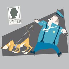 police and dog vector illustration cartoon