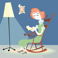 Woman reading house vector illustration cartoon