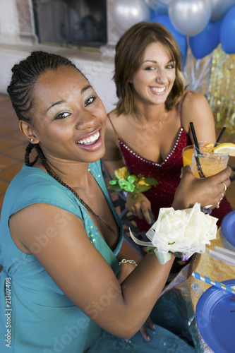 Teenage Girls Drinking at Party