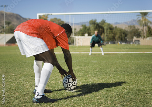 Soccer Player Preparing Free Kick