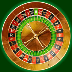 Illustration of detailed casino roulette wheel