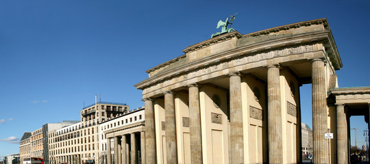 Panoramic picture of Brandenburg Gate in Berlin, Germany