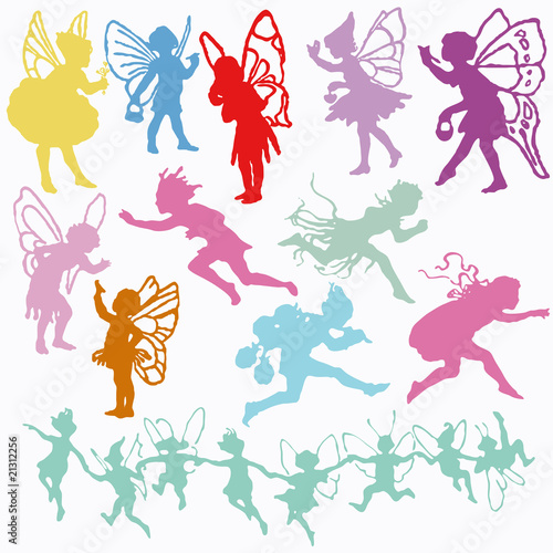 Fairy Angel Cherub vector valentine cupid set silhouettes