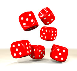 six red dice throw