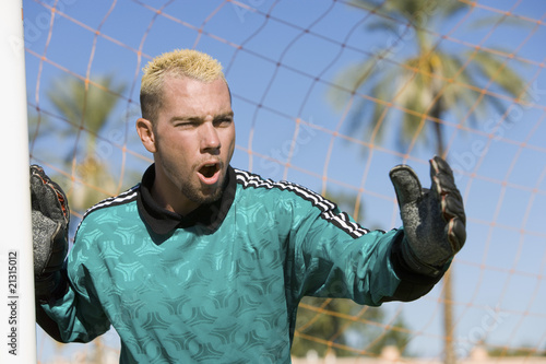 goalkeeper shouting portrait