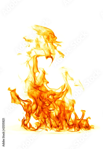Tuinposter Vlam Fire flame isolated on white backgound..