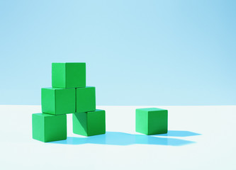 Stack of green blocks