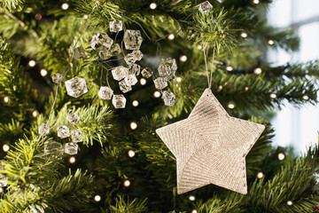 Close up of star ornament on Christmas tree