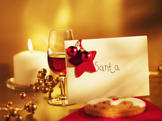 """Cookie, wine and card for Santa"""