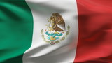 Creased Mexican flag in wind in slow motion poster