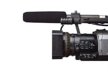 HD camcorder with gun microphone