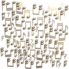 Golden notes isolated on a white background