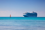 Cruise Ship and Sailboat in Caribbean poster