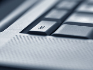 Close up of escape key on computer keyboard