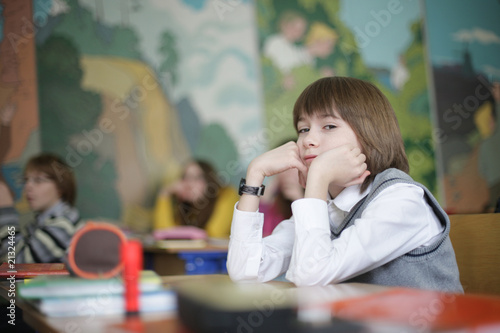 boy sitting on exam