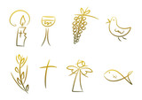 Goldene Symbole für Religion, Feste, Feiertage, ...