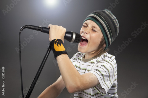 Boy with hat singing