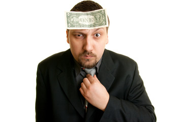 man with a dollar on the forehead