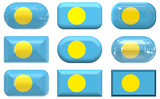 nine glass buttons of the Flag of Palau poster