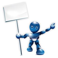 Robot bleu montrant un panneau