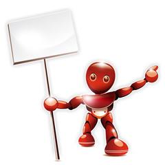 Pancarte brandie par un robot rouge