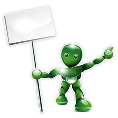 Robot brandissant une pancarte