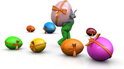 Osterhase tägt Ei