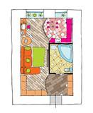 Interior design apartments. Ragged lines, sketch handwork poster