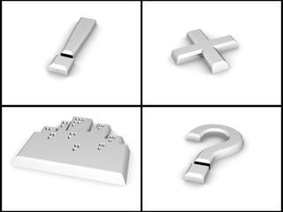 metallic silver caution symbols on a white background