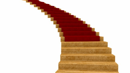 Red Carpet rolls down the stairs