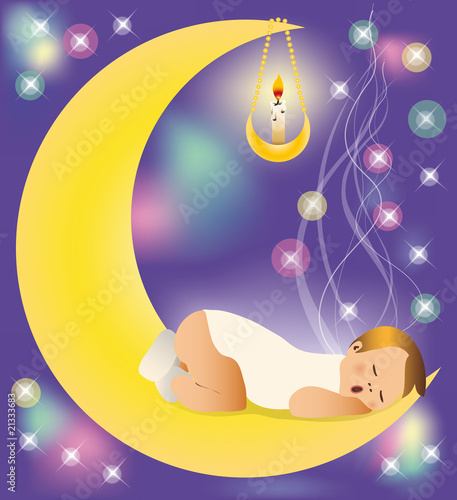 The baby sleeps on the moon.  vector