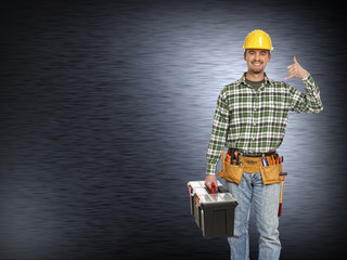 handyman and metal background